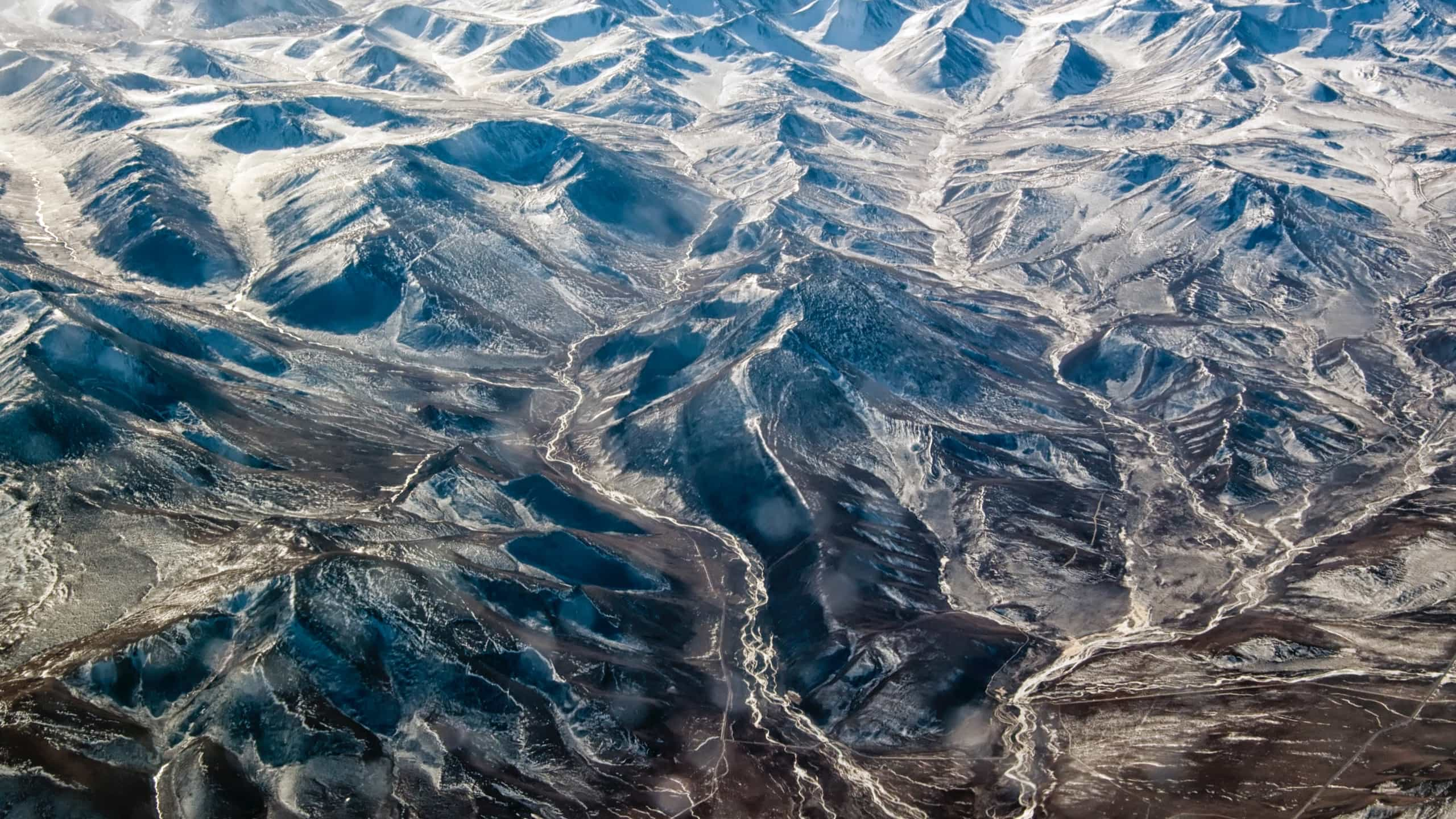 Aerial view of rivers in a mountainous region