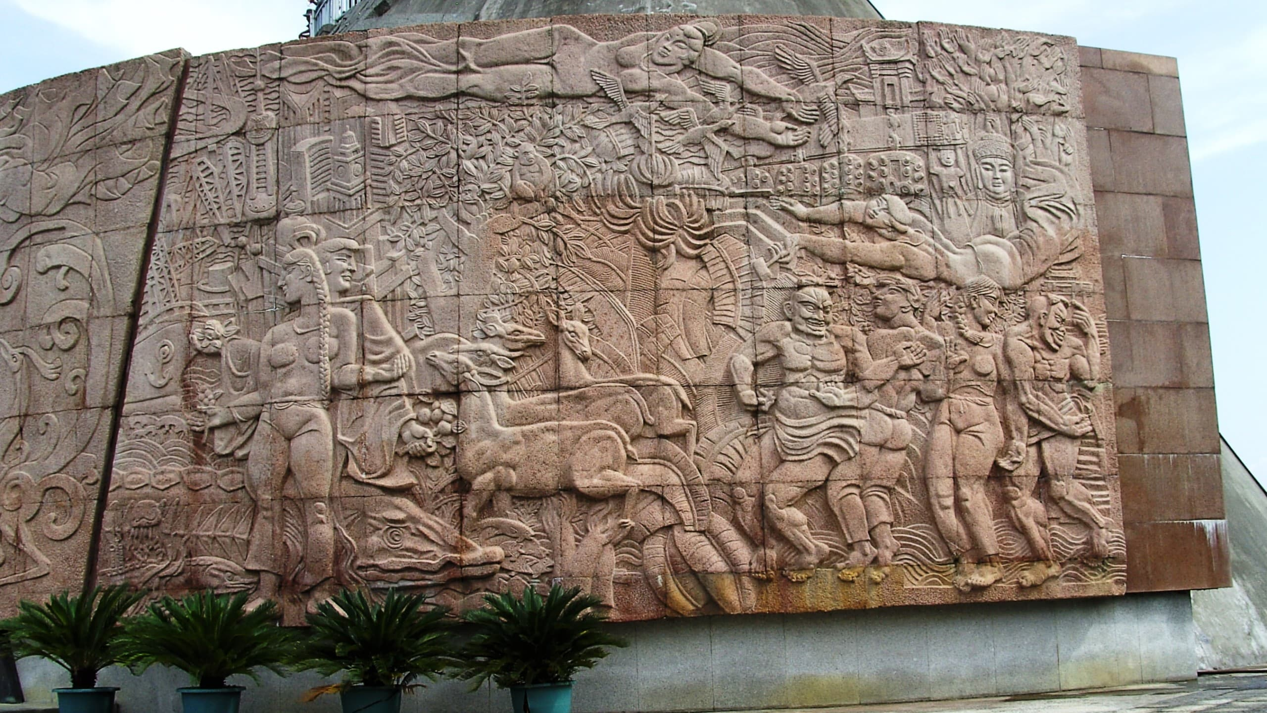 Modern relief near the visitor's platform at the Three Gorges Dam