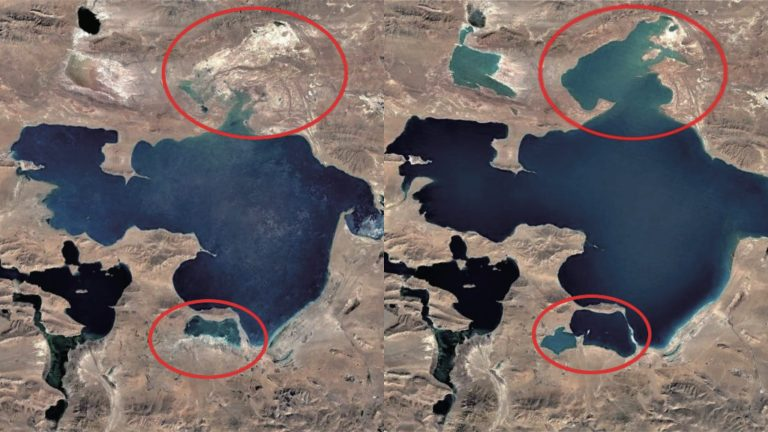 Siling Lake in 1997 and 2010