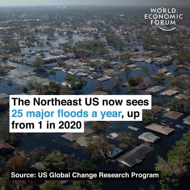 美国东北部每年约发生洪灾25次,2020年这个数字是1