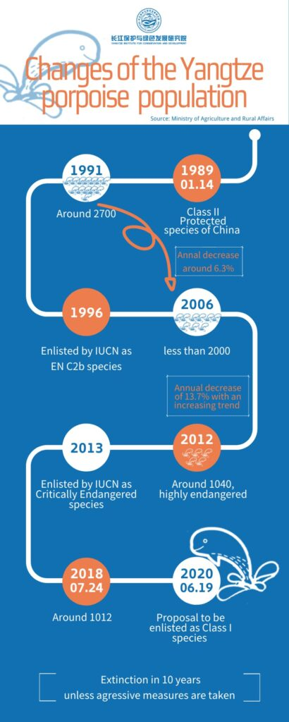 Changes of the Yangtze porpoise population