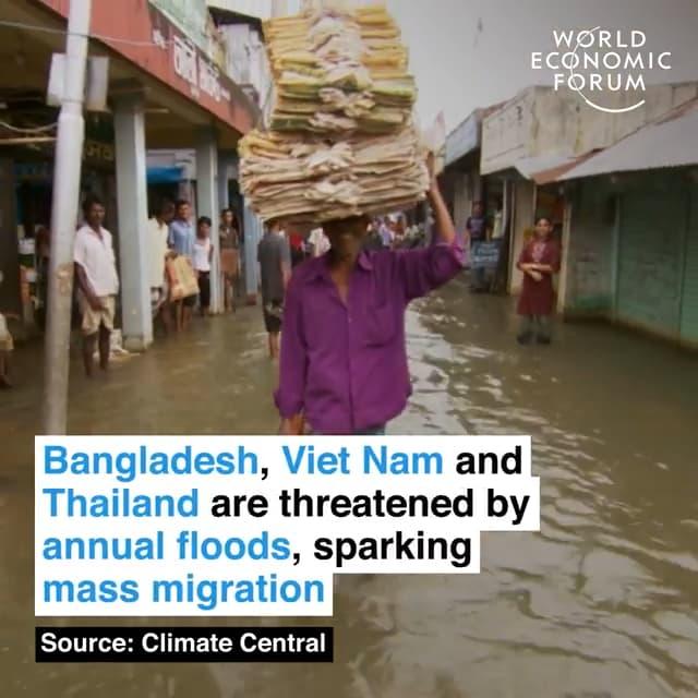 孟加拉、越南和泰国每年洪灾肆虐,大量人口被迫转移