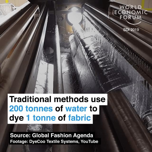 传统技术印染一吨布料耗水200吨