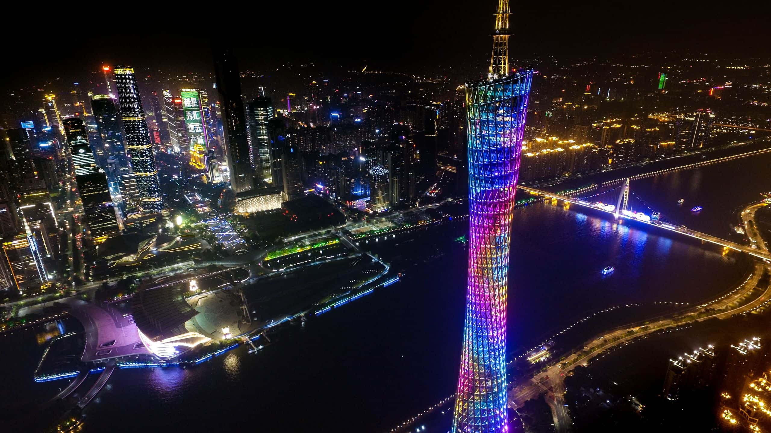 Canton Tower of Guangzhou Overseeing the Pearl River