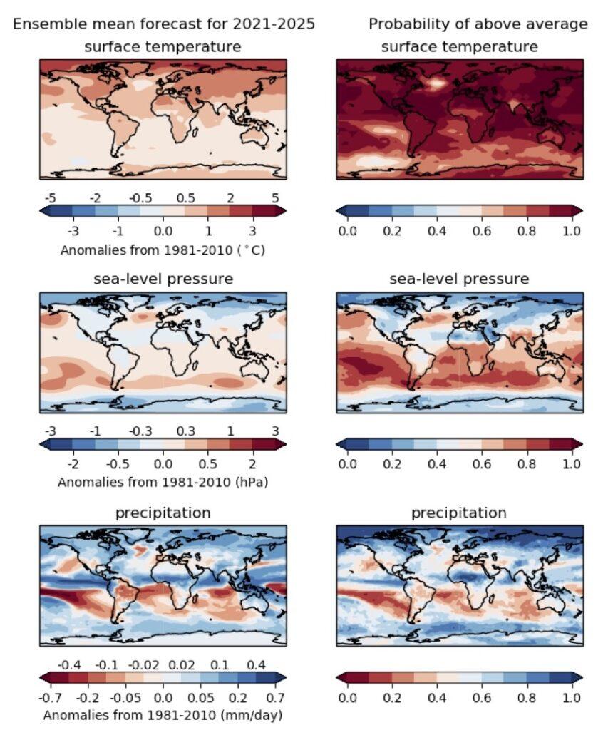 2021-2025年预估情形与1981-2010年距平